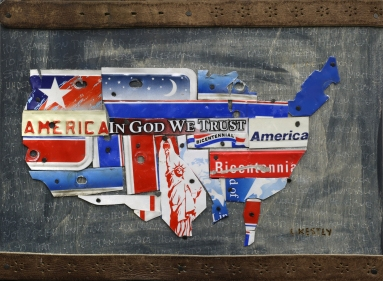 America Patriotic by Laura with license plate pieces, leather belt pieces on wood board