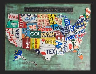 U S License Plate Map by Laura Kestly